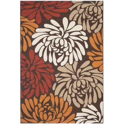 Tierney Chocolate / Terracotta Floral Outdoor Rug Rug Size: 53 x 77
