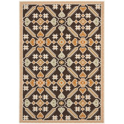 Tierney Brown Floral Outdoor Rug Rug Size: 53 x 77