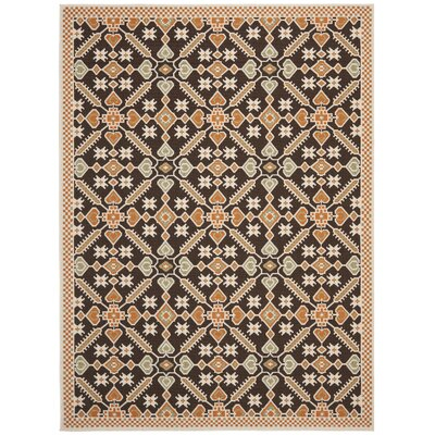 Tierney Brown Floral Outdoor Rug Rug Size: Rectangle 53 x 77