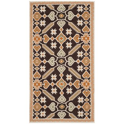 Tierney Brown Floral Outdoor Rug Rug Size: Rectangle 27 x 5