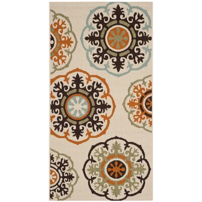 Tierney Cream & Terracotta Indoor/Outdoor Area Rug Rug Size: Runner 27 x 5