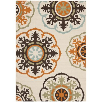 Tierney Cream & Terracotta Indoor/Outdoor Area Rug Rug Size: 53 x 77