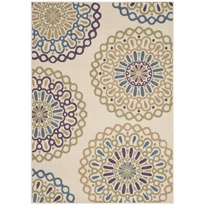 Tierney Cream & Green Outdoor Area Rug Rug Size: 67 x 96