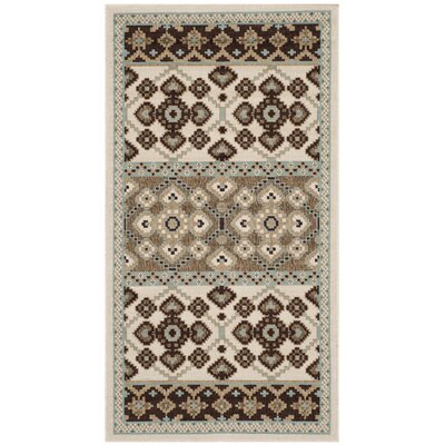 Tierney Cream/Chocolate Indoor/Outdoor Area Rug Rug Size: Runner 27 x 5