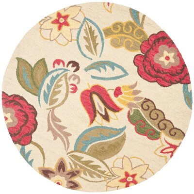 Ross Beige/Multi Floral Area Rug Rug Size: Round 6