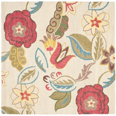 Ross Beige/Multi Floral Area Rug Rug Size: Square 6