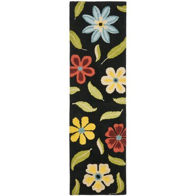 Ross Black Floral Area Rug Rug Size: Runner 23 x 8