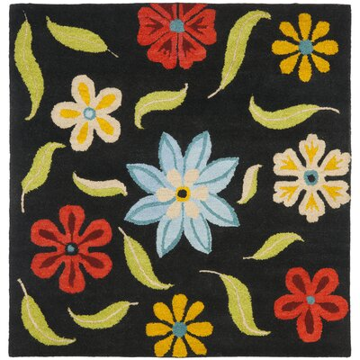 Ross Black Floral Area Rug Rug Size: Square 6