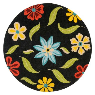 Ross Black Floral Area Rug Rug Size: Round 6