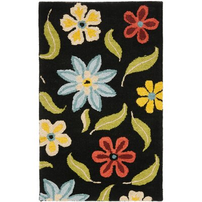 Ross Black Floral Area Rug Rug Size: 5 x 8