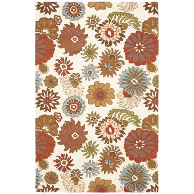 Ross Floral Ivory / Multi Contemporary Rug Rug Size: 5 x 8