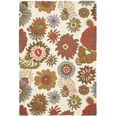 Ross Floral Ivory / Multi Contemporary Rug Rug Size: Rectangle 4 x 6