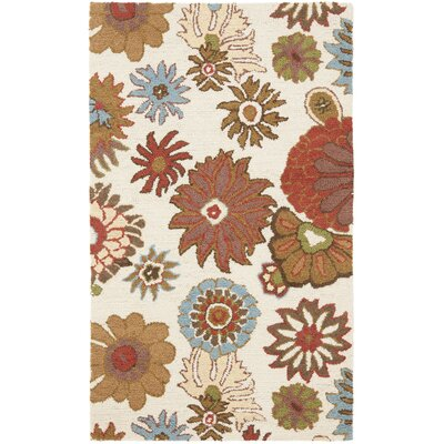 Ross Floral Ivory / Multi Contemporary Rug Rug Size: Rectangle 26 x 4