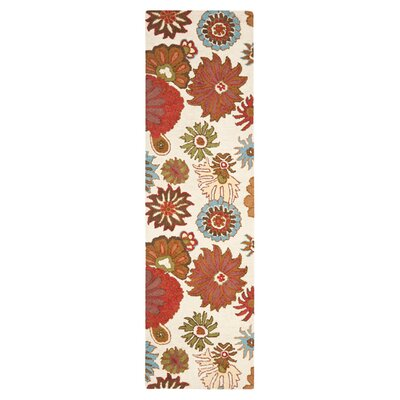 Ross Floral Ivory / Multi Contemporary Rug Rug Size: Runner 23 x 8