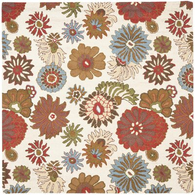 Ross Floral Ivory / Multi Contemporary Rug Rug Size: Square 6