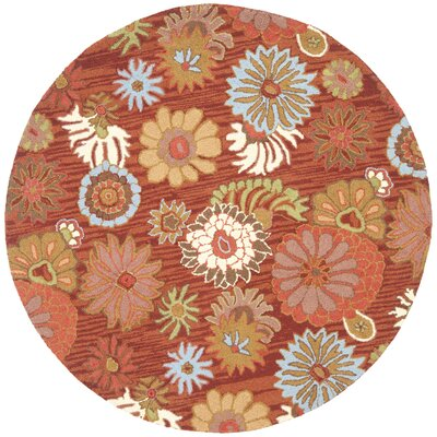 Ross Red / Multi Contemporary Rug Rug Size: Round 6