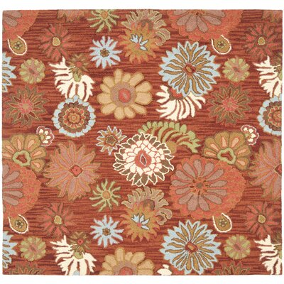 Ross Red / Multi Contemporary Rug Rug Size: Square 6
