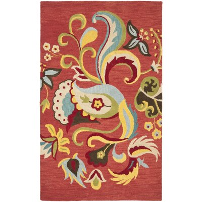 Ross Rust Floral Area Rug Rug Size: Rectangle 26 x 4