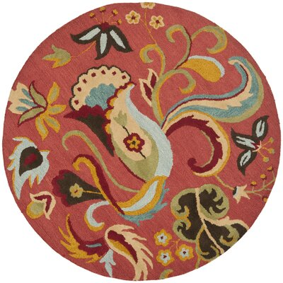 Ross Beige/Red Area Rug Rug Size: Round 4