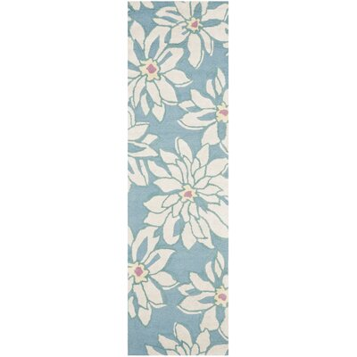 Ross Light Blue/Ivory Floral Area Rug Rug Size: Runner 23 x 8