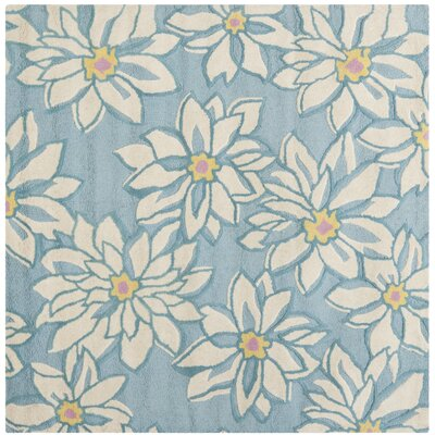 Ross Light Blue/Ivory Floral Area Rug Rug Size: Square 6