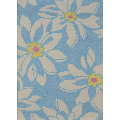 Ross Light Blue/Ivory Floral Area Rug Rug Size: 5 x 8