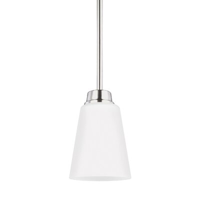 Joan Steel/Glass 1-Light Mini Pendant Finish: Brushed Nickel