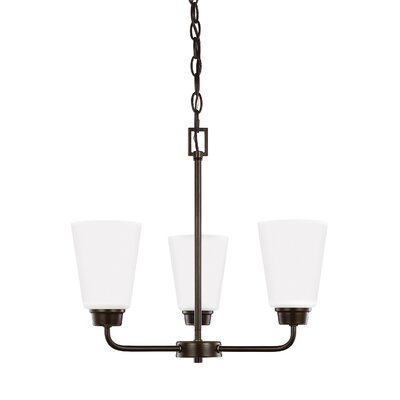 Joan 3-Light Shaded Chandelier Finish: Heirloom Bronze