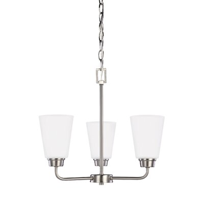 Joan 3-Light Shaded Chandelier Finish: Brushed Nickel