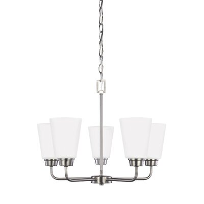 Joan 5-Light Shaded Chandelier Finish: Brushed Nickel
