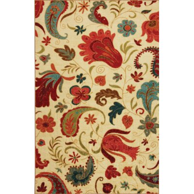 Virginia Beige/Red Area Rug Rug Size: Rectangle 5 x 8