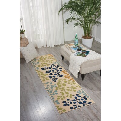 Meriline Ivory/Green/Blue Indoor/Outdoor Area Rug Rug Size: 23 x 76