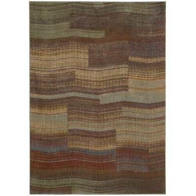 Smithtown Aqua/Brown Area Rug Rug Size: 36 x 56