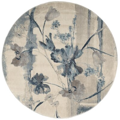 Smithtown Ivory/Blue Area Rug Rug Size: Rectangle 53 x 75