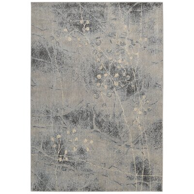 Smithtown Silver/Blue Area Rug Rug Size: 53 x 75
