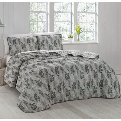 Talleyran 3 Piece Quilt Set Size: King, Color: Gray