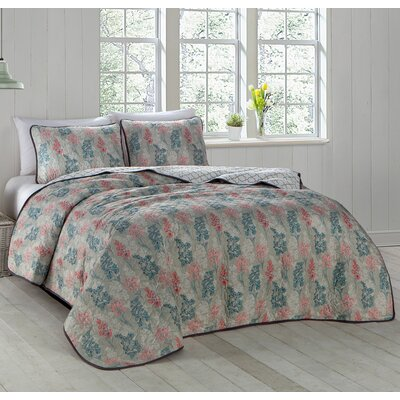 Talleyran 3 Piece Quilt Set Size: King, Color: Coral