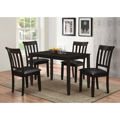 Winnetka 5 Piece Brown Wood Dining Set