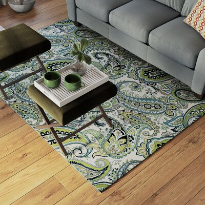 Pearl Ivory/Green Indoor/Outdoor Area Rug Rug Size: Runner 23 x 77