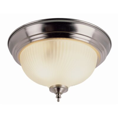 Felisha 2-Light Flush Mount Finish: Nickel, Size: 6.5 H x 11 W, Shade Color: Clear