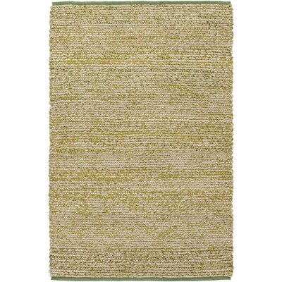 Anna Hand-Woven Green/Beige Area Rug Rug size: Rectangle 4 x 6