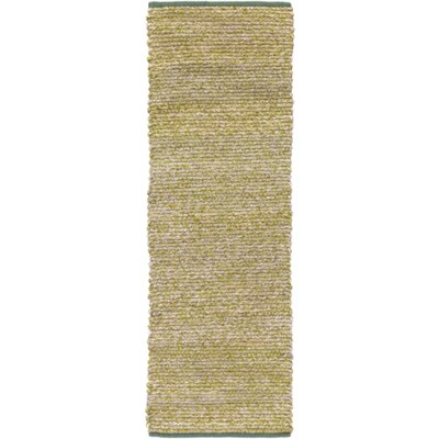 Anna Hand-Woven Green/Beige Area Rug Rug size: Runner 26 x 8