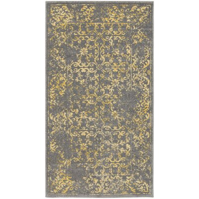 Wren Charcoal/Yellow Area Rug Rug size: 710 x 106