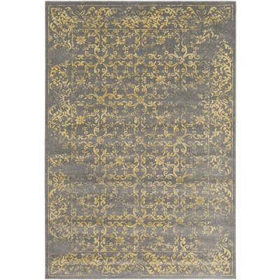 Wren Charcoal/Yellow Area Rug Rug size: 53 x 76