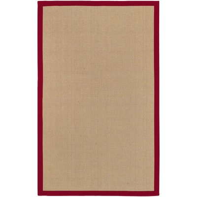 Sasha Hand-Woven Jute Red Area Rug Rug Size: Rectangle 5 x 8
