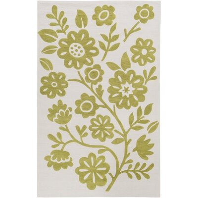 Church Hand-Hooked Green/Neutral Area Rug Rug Size: Rectangle 5 x 76