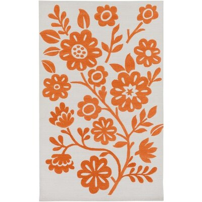 Church Hand-Hooked Orange/Neutral Area Rug Rug Size: Rectangle 76 x 96