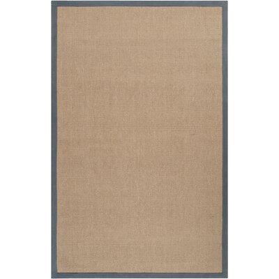 Hand-Woven Tan/Navy Area Rug Rug size: 5 x 8