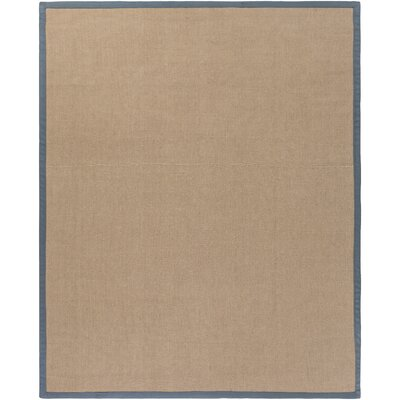Hand-Woven Tan/Navy Area Rug Rug size: 8 x 10