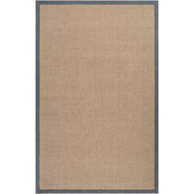 Hand-Woven Tan/Navy Area Rug Rug size: 9 x 13
